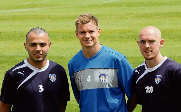 Terrific trio - Ben Gordon, Chris Lewington and Sean Clohessy have all signed for Colchester United. Picture: STEVE ARGENT (CO96359-02)