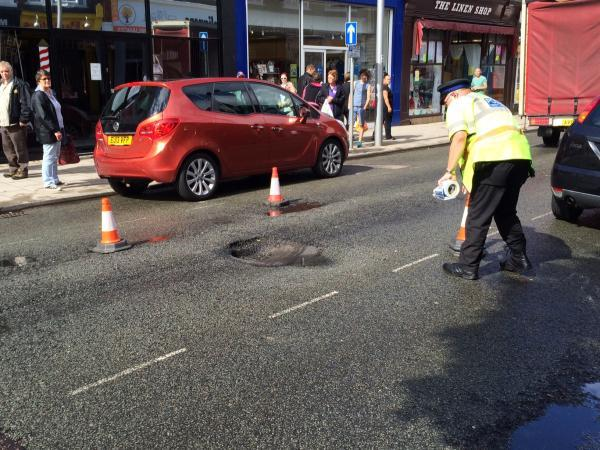 High Street closed after hole appears in road