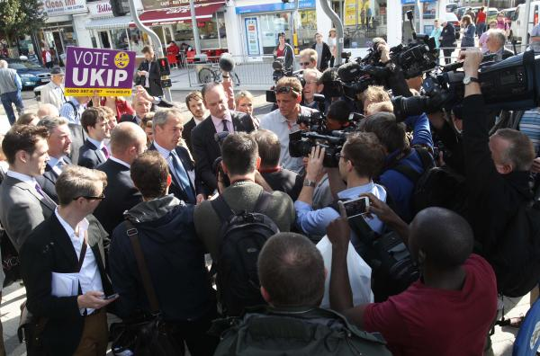 UKIP leader Nigel Farage causes waves in Clacton with Tory defect Douglas Carswell